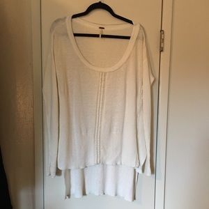 Free People Ivory Knit And Lace Sweater